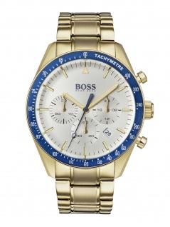 Hugo Boss 1513631 TROPY Chronograph Uhr Herrenuhr Edelstahl Datum Gold