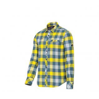Mammut Herrenhemd Langarm Belluno Winter Shirt Men Blau Gelb Gr. S