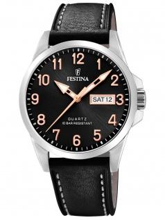 Festina F20358/D Uhr Herrenuhr Lederarmband Datum schwarz