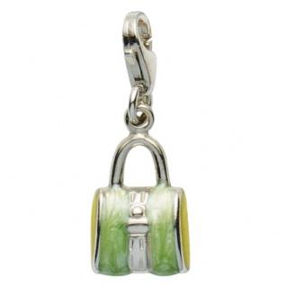 Basic Silber 22.VX162 Damen Charms Tasche Silber grün gelb