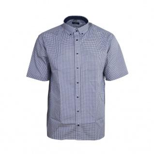 Eterna Herrenhemd Kurzarm Comfort Fit Blau Weiß karo Hemd XXL/45