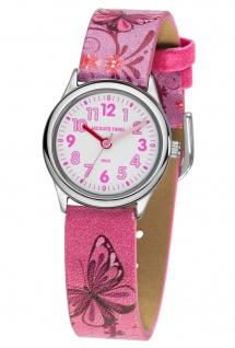 JACQUES FAREL HCC432 Schmetterling Uhr Mädchen Kinderuhr Leder rosa