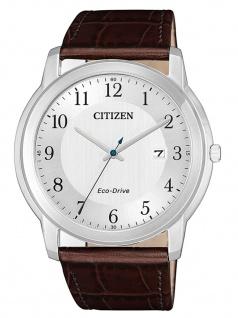 Citizen AW1211-12A Eco Drive Uhr Herrenuhr Lederarmband Datum Braun
