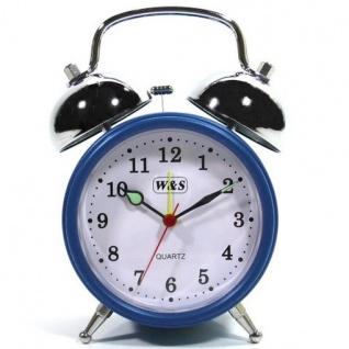 W&S 200200 Wecker Glockenwecker Uhr blau-weiß Analog Alarm
