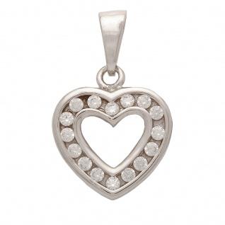 Basic Silber SH11 Damen Collier Herz Silber weiß 42 cm