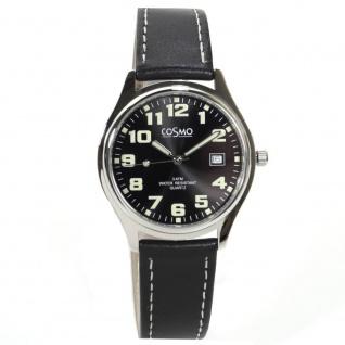 Cosmo 02063RLB-schwarz Uhr Herrenuhr Lederarmband Datum schwarz