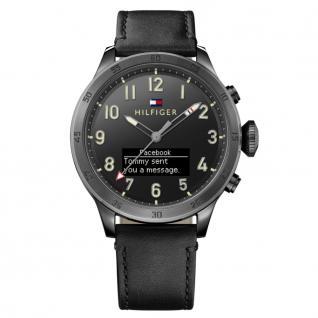 Tommy Hilfiger 1791301 SMARTWATCH Uhr Herrenuhr Lederarmband Schwarz