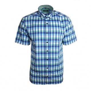 Eterna Herrenhemd Kurzarm Modern Fit Blau Grün Gr. XXL/46 2084/44/C247