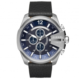 Diesel DZ4423 MEGA CHIEF Chronograph Uhr Herrenuhr Leder Datum schwarz