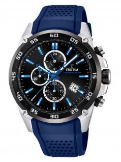 Festina F20330/8 Chronograph Uhr Herrenuhr Kautschuk Chrono Datum Blau
