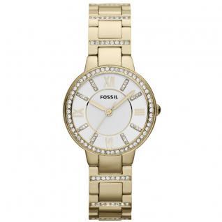 Fossil ES3283 VIRGINIA Uhr Damenuhr Edelstahl Zirkonia weiß gold