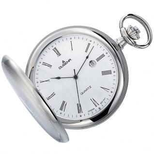 DUGENA 4460304 Taschenuhr Savonette mit Kette Uhr Datum Weiss