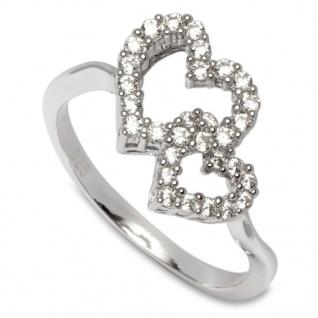 GOOIX 943-05377 Damen Ring Herzen Silber Weiß 58 (18.5)