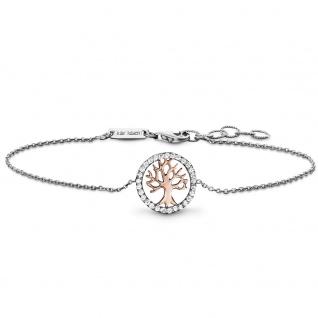 Julie Julsen® JJBR2780.8 Damen Armband Baum Bicolor Rose Weiß 18, 5 cm