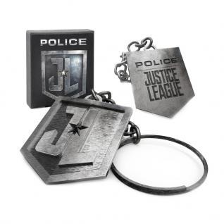 POLICE JLKEYRING Schlüsselanhänger JUSTICE LEAGUE Edelstahl Silber