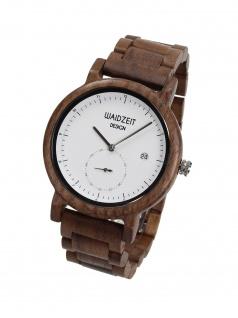 Waidzeit XW01 Maximilian weiß Uhr Herrenuhr Holz Datum Braun