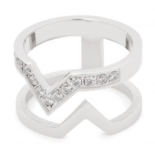 Leonardo 016119 Damen Ring Triangolo Edelstahl weiß 60 (19.1)