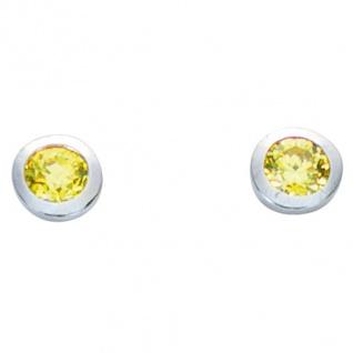 Basic Silber 01.1096HG Damen Ohrstecker Silber Zirkonia hellgrün - Vorschau 1