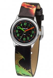 JACQUES FAREL HCC333 Drachen Uhr Junge Kinderuhr Lederarmband schwarz