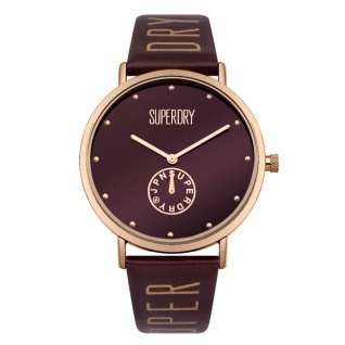 Superdry SYL175RRG Oxford Uhr Damenuhr Lederarmband Rot