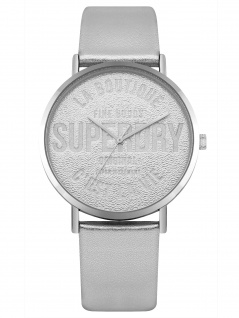 Superdry SYL251S Uhr Damenuhr Lederarmband Silber