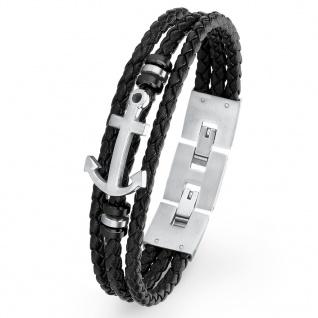 s.Oliver 2018683 Herren Armband Anker Edelstahl Silber Schwarz 22 cm