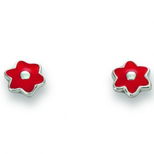 Basic Silber 01.KS110 Mädchen Ohrstecker Blume Silber rot