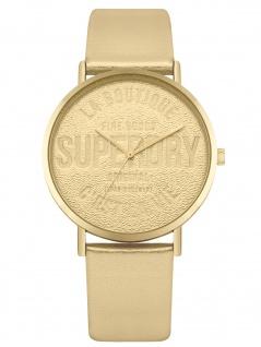 Superdry SYL251G Uhr Damenuhr Lederarmband Gold