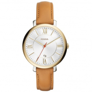 Fossil ES3737 JACQUELINE Uhr Damenuhr Lederarmband Datum cognac