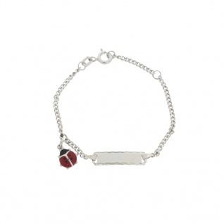 Basic Silber SAB25 Mädchen Armband Marienkäfer Silber rot 14 cm