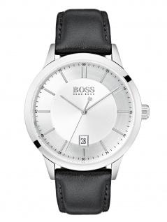 Hugo Boss 1513613 OFFCR Uhr Herrenuhr Lederarmband Datum Schwarz