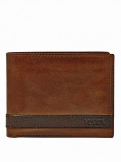 Fossil Herren Geldbörse QUINN Zip Bifold Leder Braun ML3652-200