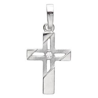 Basic Silber 27.9184S Damen Anhänger Kreuz Silber Zirkonia weiß