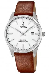 Festina F20512/2 Uhr Herrenuhr Lederarmband Datum braun