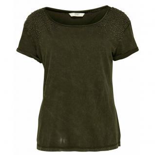 Only Damen Shirt T-Shirt Kurzarm mit Perlen ELIF Beads SS Top Grün M