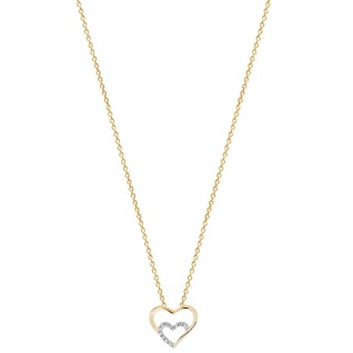XENOX XS2794G Damen Collier Herz Love Story Gold weiß 45 cm