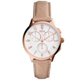Fossil CH3016 ABELINE Chronograph Uhr Damenuhr Leder Datum beige