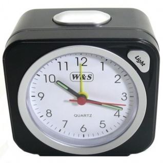 W&S 030409 Wecker Uhr schwarz-silber Analog Licht Alarm - Vorschau 3