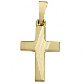 Basic Gold K17 Damen Anhänger Kreuz 14 Karat (585) Gelbgold