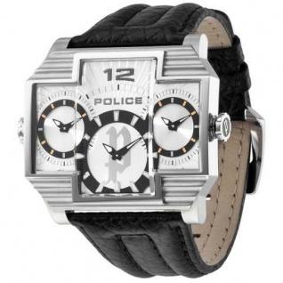 POLICE P13088JS-04 Herrenuhr Hammerhead schwarz silber Leder Uhr