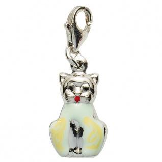 Basic Silber 22.VX157 Damen Charms Katze Silber grün gelb rot schwarz