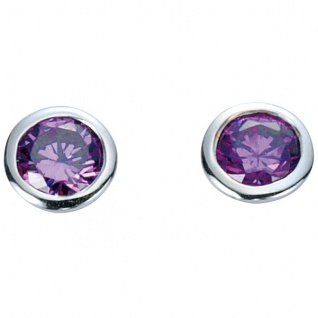 Basic Silber 01.1098L Damen Ohrstecker Silber Zirkonia lila