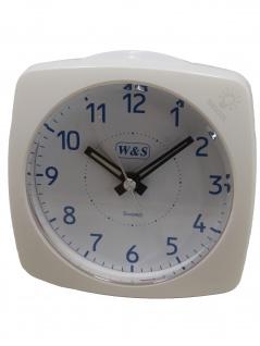W&S 201813-weiß Wecker leise Sekunde Uhr Alarm Weiss