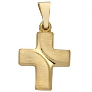Basic Gold K23 Damen Anhänger Kreuz 14 Karat (585) Gelbgold