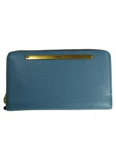 Fossil Damen Geldbörse Liza Zip Clutch Leder Blau SL7878-981