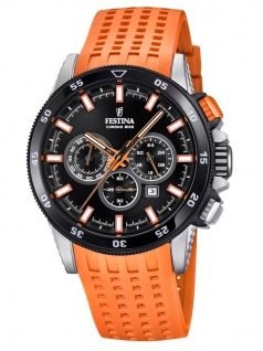 Festina F20353/6 Chronograph Uhr Herrenuhr Kautschuk Datum Orange