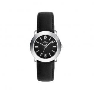s.Oliver SO-3389-LQ Uhr Damenuhr Lederarmband Schwarz