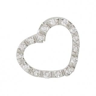 Basic Silber 21.0008S Damen Anhänger Herz Silber Zirkonia weiß