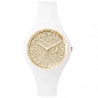 Ice-Watch ICE GLITTER White Gold Small Uhr Damenuhr Silikon weiß
