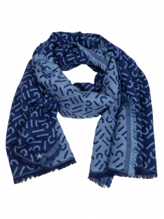 Esprit Damen Schal Stola Smart Blanc Baumwolle 180cm Blau 010EA1Q309